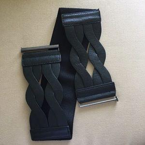 Black leather braided, stretchy back, waist belt